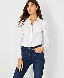 앤테일러 Ann Taylor Petite Perfect Shirt,White