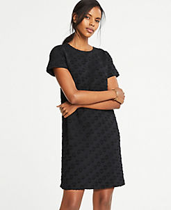 앤테일러 티셔츠 원피스 Ann Taylor Dot Jacquard T-Shirt Dress,Black