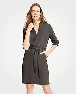 앤테일러 셔츠 원피스 Ann Taylor Roll Tab Sleeve Belted Shirtdress,Dark Anthracite