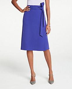 앤테일러 Ann Taylor Petite Tie Waist Wrap Skirt,Royal Azure