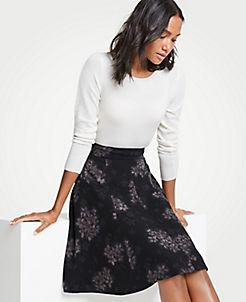앤테일러 Ann Taylor Crocus Floral Flare Skirt,Black