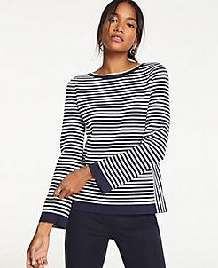 앤테일러 Ann Taylor Mixed Stripe Sweater,Night Sky