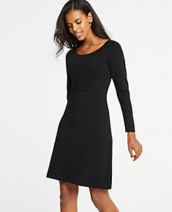 앤테앤테일러 원피스 러 Ann Taylor Flare Sweater Dress,Black