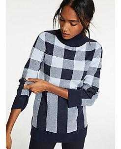 앤테일러 Ann Taylor Plaid Turtleneck Tunic Sweater,Night Sky