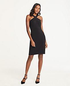 앤테일러 원피스 Ann Taylor Doubleweave Halter Dress,Black