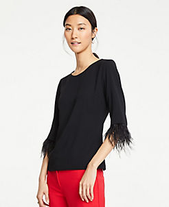 앤테일러 Ann Taylor Feathered Cuff Top,Black