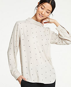 앤테일러 Ann Taylor Embellished Mock Neck Blouse,Pure Cinnamon