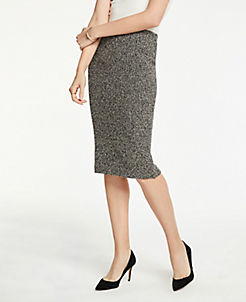 앤테일러 Ann Taylor Shimmer Pencil Skirt,Black Multi