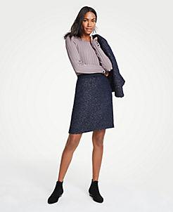 앤테일러 Ann Taylor Tweed A-Line Skirt,Blue Multi