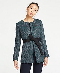 앤테일러 Ann Taylor Belted Tweed Jacket,Green Multi