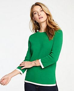 앤테일러 Ann Taylor Tipped 3/4 Sleeve Sweater,Ivy Green