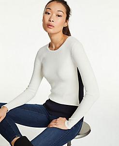 앤테일러 Ann Taylor Colorblock Sweater,Winter White