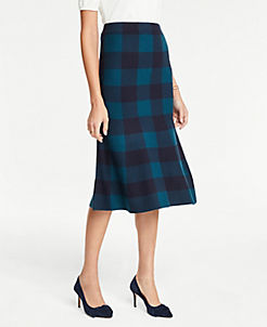 앤테일러 Ann Taylor Plaid Trumpet Sweater Skirt,Navy Multi