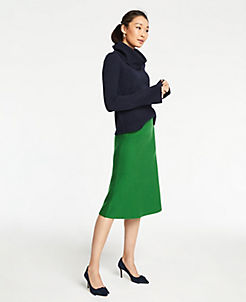 앤테일러 Ann Taylor A-Line Sweater Skirt,Ivy Green