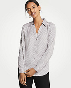 앤테일러 Ann Taylor Geo Essential Button Down Blouse,Polished Grey
