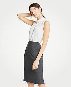 앤테일러 Ann Taylor Glen Plaid Pencil Skirt,Grey Multi