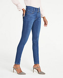 앤테일러 Ann Taylor Buttoned High Waist Performance Stretch Skinny Jeans,Bright Mid Indigo Wash