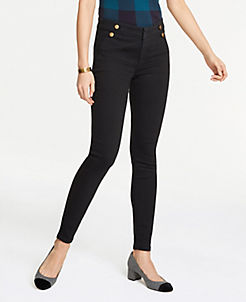 앤테일러 Ann Taylor Sailor Performance Stretch Skinny Jeans,Jet Black Wash