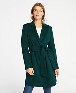 앤테일러 Ann Taylor Belted Chesterfield Coat,Emerald Forest
