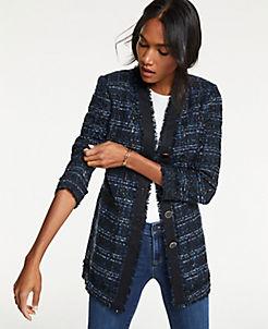 앤테일러 Ann Taylor Houndstooth Tweed Jacket,Navy Multi