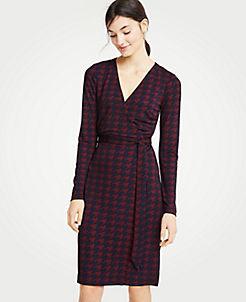 앤테일러 랩 드레스 Ann Taylor Houndstooth Matte Jersey Wrap Dress,Night Sky