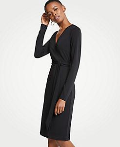앤테일러 랩 드레스 Ann Taylor Matte Jersey Wrap Dress,Black