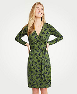 앤테일러 Ann Taylor Alpine Floral Matte Jersey Wrap Dress,Fir Green