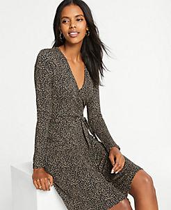앤테일러 치타 프린트 랩 드레스 Ann Taylor Cheetah Print Wrap Dress,Black