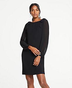 앤테일러 원피스 Ann Taylor Shoulder Bow Shift Dress,Black