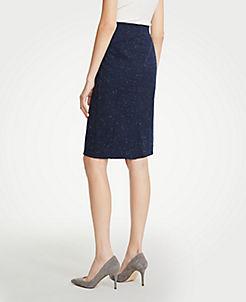 앤테일러 Ann Taylor Speckled Pencil Skirt,Navy Multi