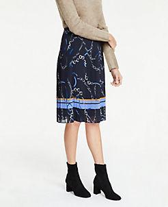 앤테일러 Ann Taylor Ribbon Chain Pleated Skirt,Navy Multi