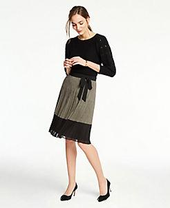 앤테일러 Ann Taylor Plaid Tie Waist Pleated Skirt,Black