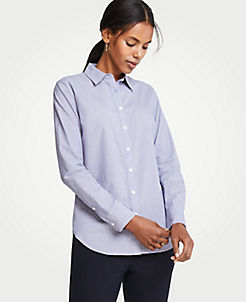 앤테일러 Ann Taylor End On End Cotton Perfect Shirt,Royal Azure