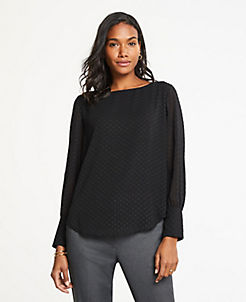 앤테일러 Ann Taylor Clip Dot Boatneck Blouse,Black