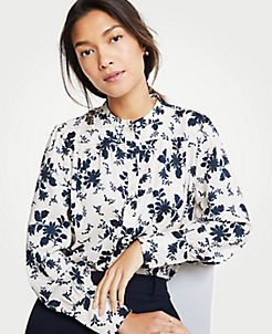 앤테일러 Ann Taylor Alpine Floral Shirred Button Down Blouse,Pure Vanilla
