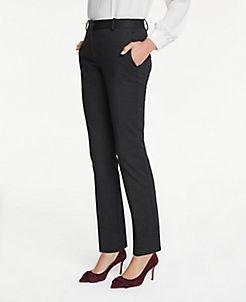 앤테일러 Ann Taylor The Straight Leg Pant In Pindot,Black Multi