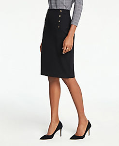 앤테일러 Ann Taylor Sailor Pencil Skirt,Black