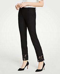 앤테일러 Ann Taylor The Ankle Pant With Lace Hem,Black