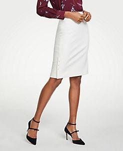 앤테일러 Ann Taylor Pearlized Trim Pencil Skirt,Coconut