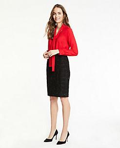 앤테일러 Ann Taylor Curvy Shimmer Tweed Pencil Skirt,Black