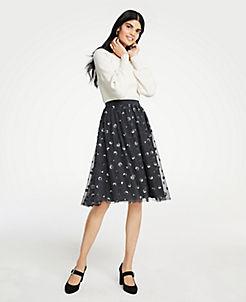 앤테일러 Ann Taylor Sequin Dot Tulle Skirt,Dark Rock Grey