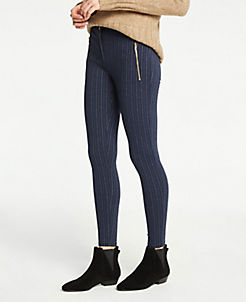 앤테일러 Ann Taylor Pinstripe Zip Pocket Leggings,Navy Pinstripe