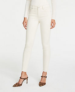 앤테일러 Ann Taylor Frayed Hem Performance Stretch Skinny Jeans,Ecru