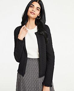 앤테일러 Ann Taylor Stitched Fringe Sweater Jacket