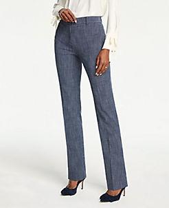 앤테일러 Ann Taylor The Straight Leg Pant In Crosshatch,Blue Multi