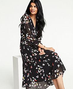 앤테일러 Ann Taylor Meadow Floral Pleated Wrap Dress,Black