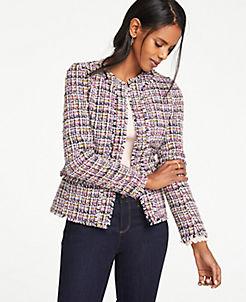 앤테일러 Ann Taylor Fringe Tweed Peplum Jacket,Pink Multi