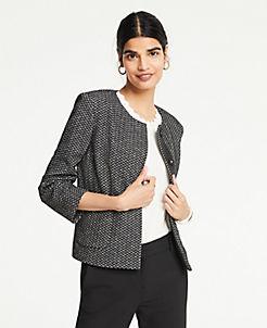 앤테일러 Ann Taylor Chevron Knit Jacket,Black Multi