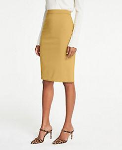앤테일러 Ann Taylor Lace Trim Pencil Skirt,Mystic Saffron