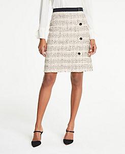 앤테일러 Ann Taylor Tweed Button A-Line Skirt,Graceful Peach